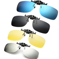Polarized Clip on Sunglasses clip on glasses square Polaroid Lens Men Women mirror clip Sun Glasses Night Vision Driving