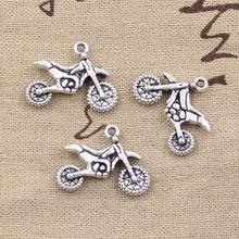 12 pçs encantos motocicleta motorcross 17x23mm antigo prata cor chapeado pingentes fazendo diy artesanal tibetano prata cor jóias
