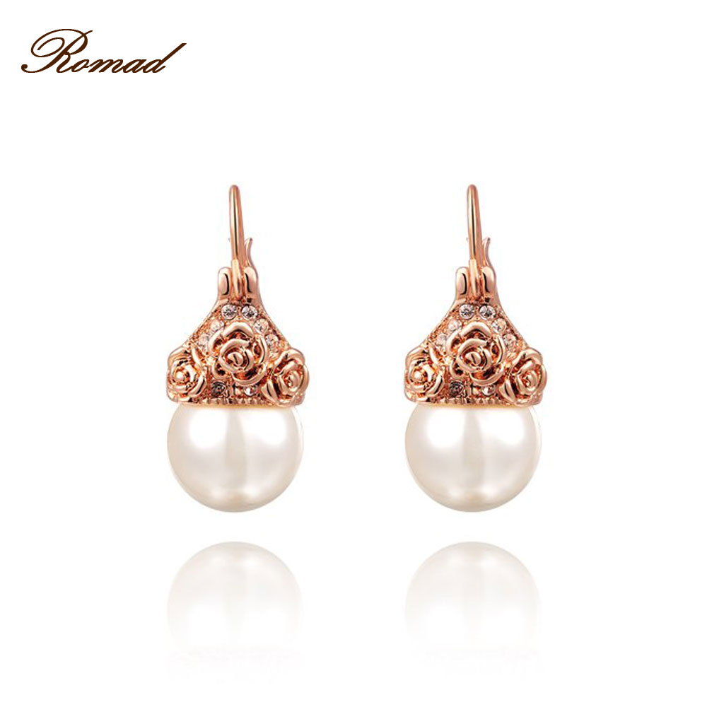 Romad 2017 Fashion Jewelry Simulate Pearl Earrings Rose Gold Color Rose  Flower Earrings For Women Earring