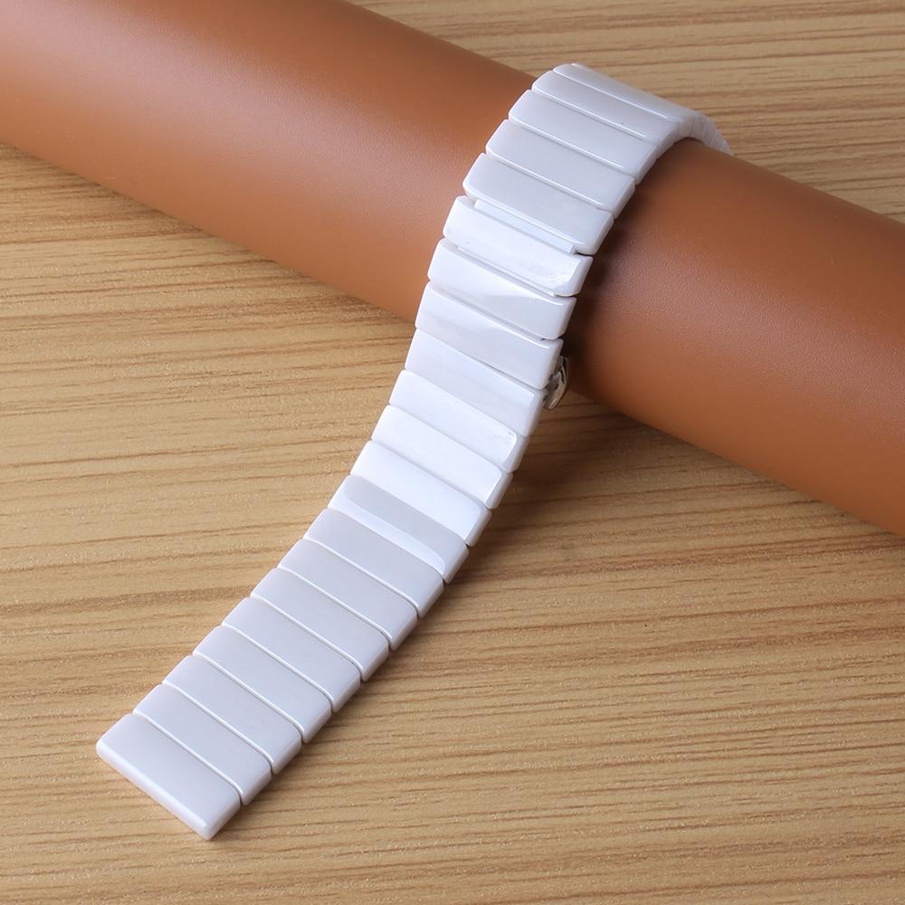 Bracelet de montre en céramique bracelet de montre 20mm 22mm 24mm bracelet de montre-bracelet blanc noir papillon boucle accessoires de montre pas fade - 3
