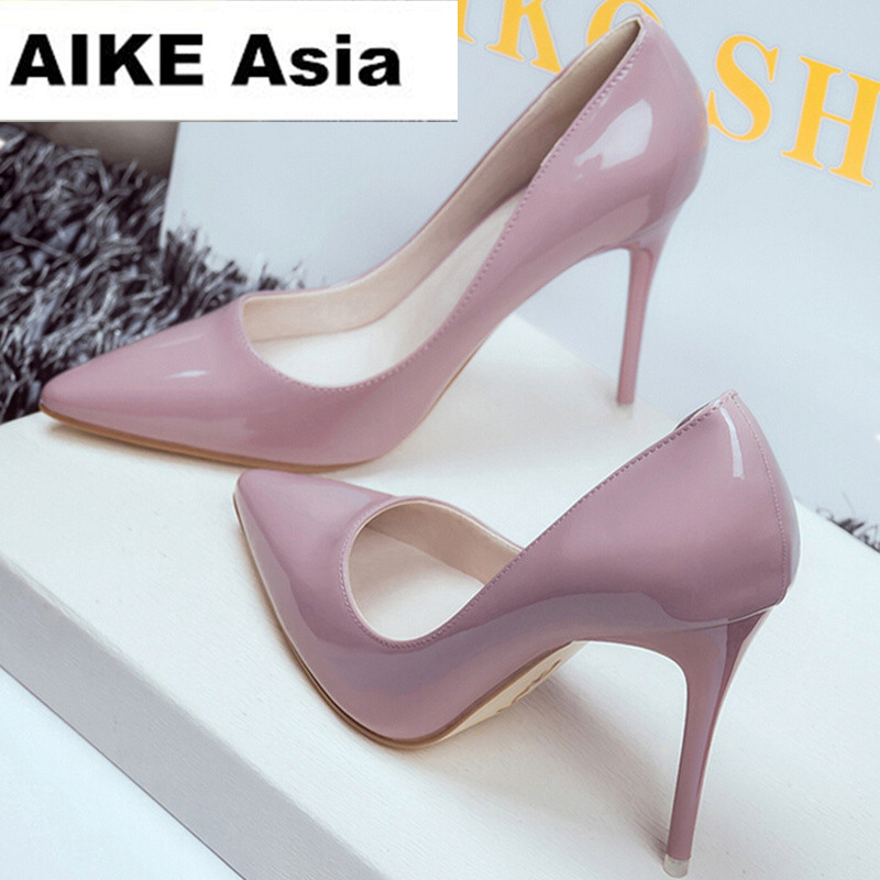2018 Women Shoes Pointed Toe Pumps Patent Leather Dress Shoes High Heels Boat Shoes Wedding Shoes Zapatos Mujer 10cm/7cm/4cm