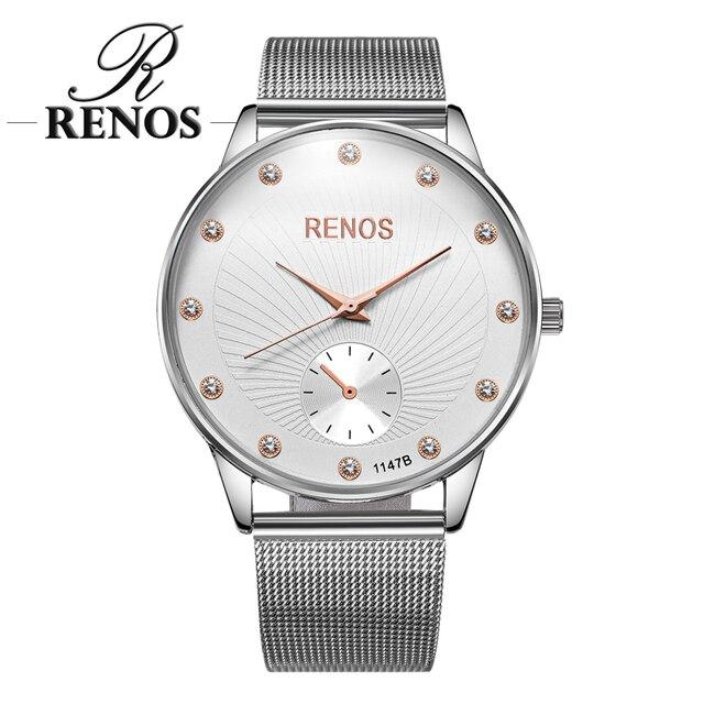 ca405179b5d3 Reloj RENOS para mujer con caja de diamantes de imitación relojes de  pulsera de cuarzo negro