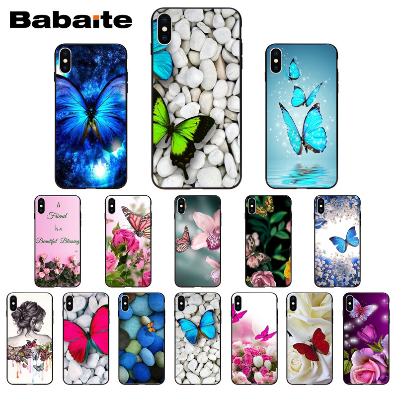 brand new 547ac 3d8ce Red butterfly white stone roses flower Fundas Phone Case Cover for iPhone X  XS MAX 6 6s 7 7plus 8 8Plus 5 5S SE XR Babaite