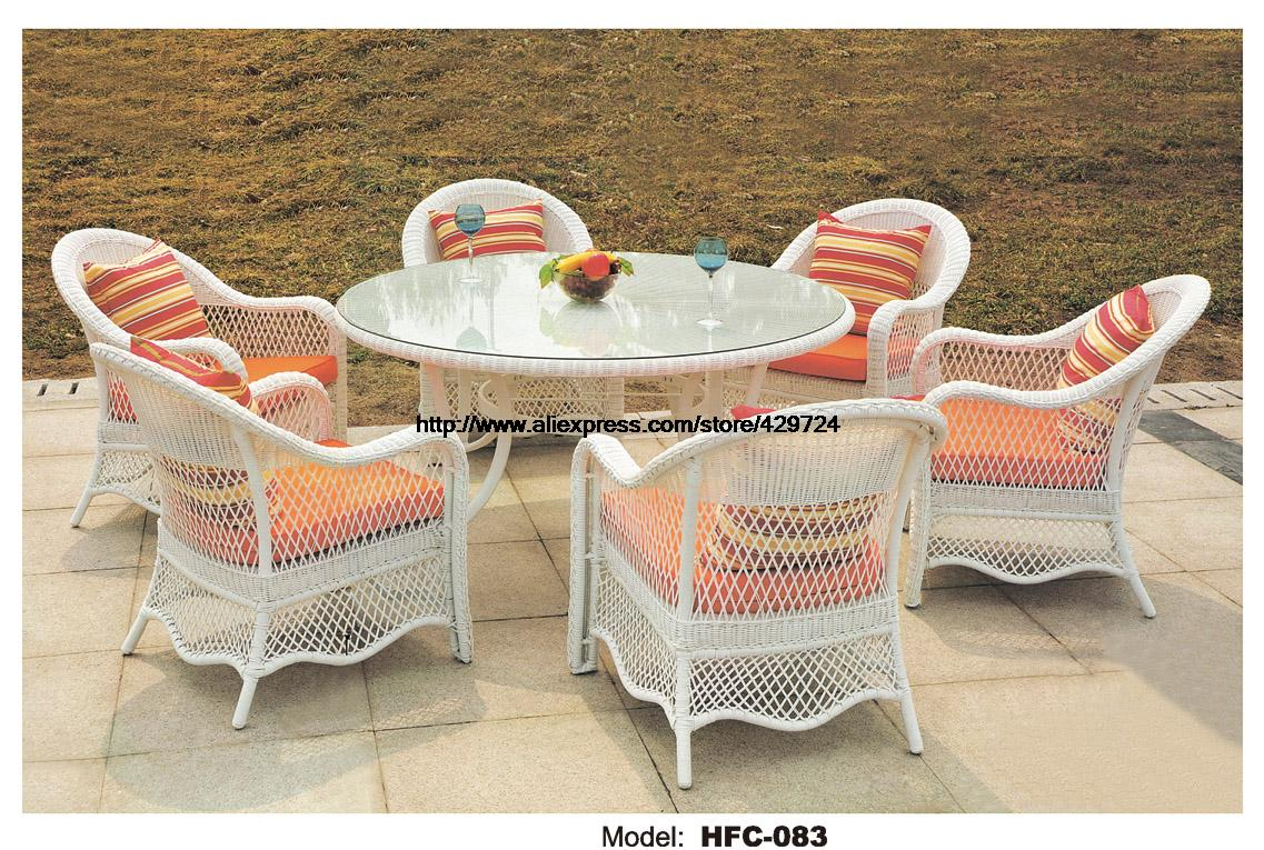Modern White Rattan Garden Set Large Size Round Table 1.2M 6 Chiars Outdoor Furniture Set Garden Villa Hotel Leisure Furniture