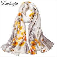 DANKEYISI, 100% натуральный шелковый шарф, женские шелковые шарфы, шали и шарфы, хиджабы, женская Пляжная накидка с принтом, Дамская бандана, 2019