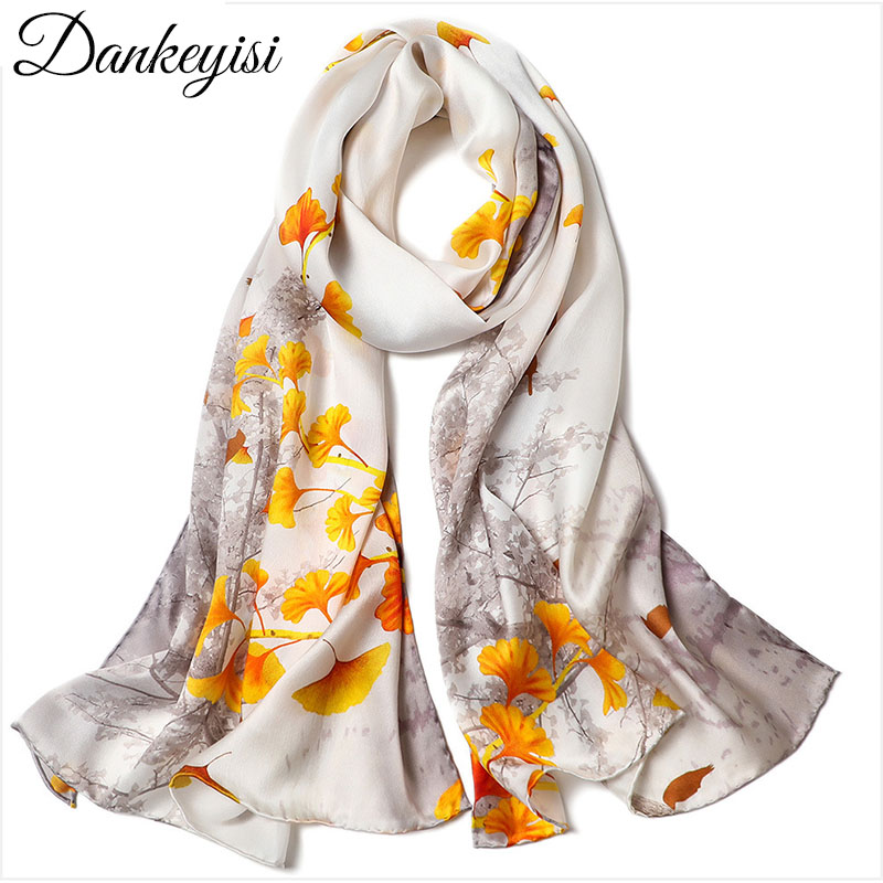 DANKEYISI 100% Natural Silk Scarf Women Silk Wraps Shawls And Scarves Hijabs Female Printed Beach Cover Up Ladies Bandana 2019