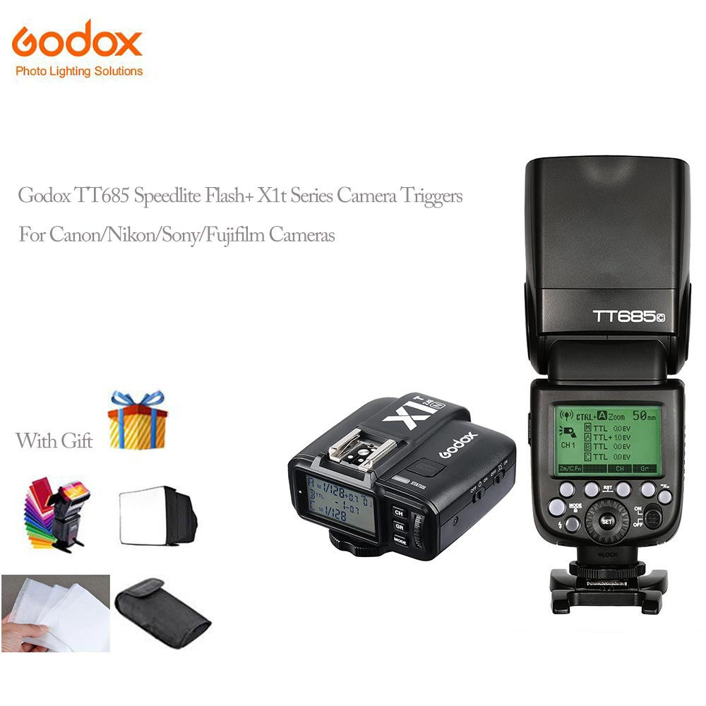 Godox X1t-S/N/C/F Transmitter Triggers TTL+TT685s/N/C/F GN60 TTL Flash Speedlite 0.1-2.s Recycle Time for Canon Nikon Sony 2pcs godox v860ii ttl speedlite flash gn60 hss 1 8000s with li ion battery x1t c n f s for canon nikon sony fujifilm olympus