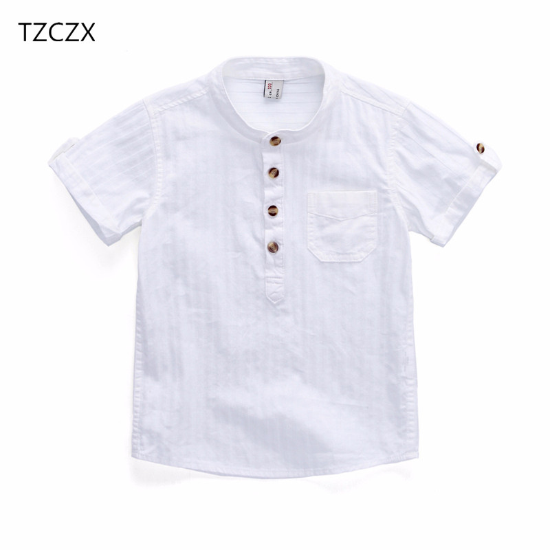 TZCZX-2320 New 2018 Summer Style Children Boys Shirt Fashion Solid Cotton Short Shirt For 3-10 Years Old Kids Wear Clothes