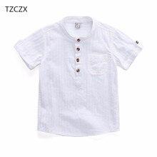 ab0b3a2e6b TZCZX-2320 Nuevo 2018 verano estilo niños Camisa de algodón sólido camisa  corta para 3-10 años de edad los niños usar ropa
