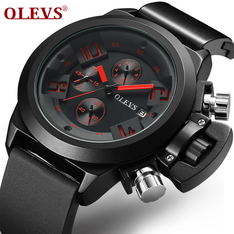 OLEVS Top Brand Sports Men Watches Waterproof Silicone Male Clock Watch 2 Color Cool Big Dial Date Chronograph Wristwatch G6848 olevs sports men quartz watches top brand luxury carbon fiber dial watch clock steel mesh strap male chronograph wristwatch 6818