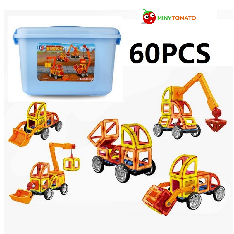 Free Ship 60pcs/lot 3D Enginneer Cars Magnetic Assembling Building Blocks DIY Learning & Education Toys Bricks Toys for Children lot variety versatile building blocks nut combination disassembly assembling toys for children