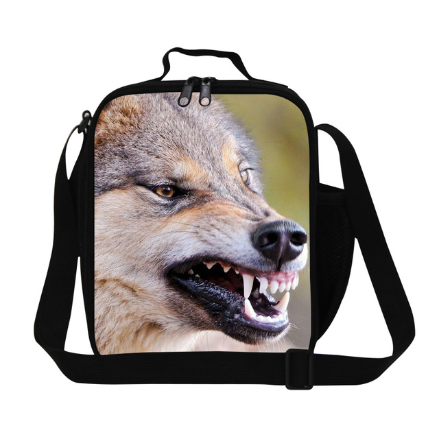 Lunch Bag New Fashion Wolf Animal Print Lancheira Lunch Box Insulated Picnic Bag Kid Women Men Thermal Insulation Bolsa Termica