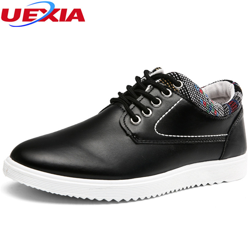 UEXIA 2018 Spring Autumn Black PU Leather Shoes Men Driving Business Shoe Man Breathable Casual Shoes Moccasins Boat Flat Shoes us6 11 big size 11 new spring breathable real leather men casual loafers boat shoes man driving shoes 7 colors orange green