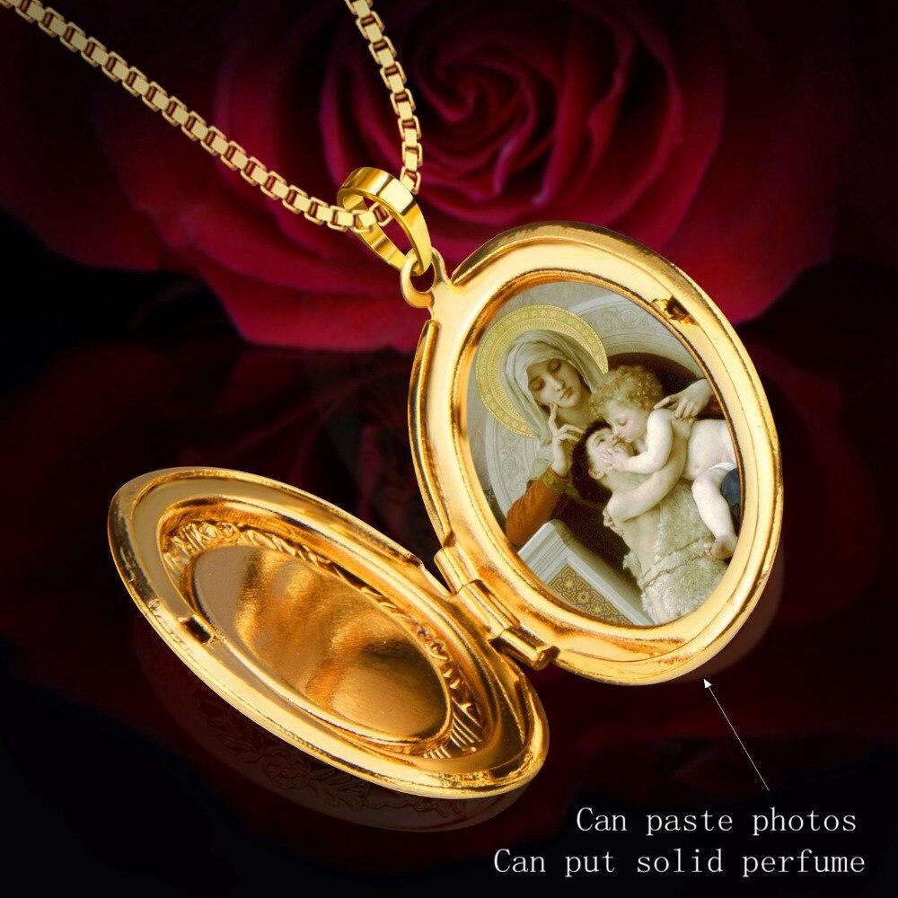 Marco de la foto Medallón Memoria de Color Oro Colgante Collar de La ...
