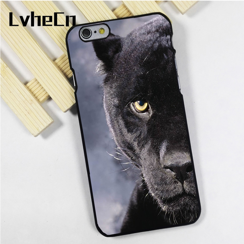 LvheCn phone case cover fit for iPhone 4 4s 5 5s 5c SE 6 6s 7 8 plus X ipod touch 4 5 6 BEAUTIFUL BLACK PANTHER HALF