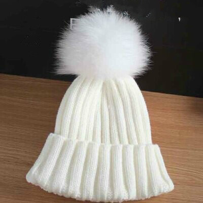 f014e8c0f2d Black Friday Promotions Adult Women Ribbed Cuff Fur Pom Pom Beanies Crochet  Knitted Warm Winter Hat With Hair Ball Top Black-in Skullies   Beanies from  ...