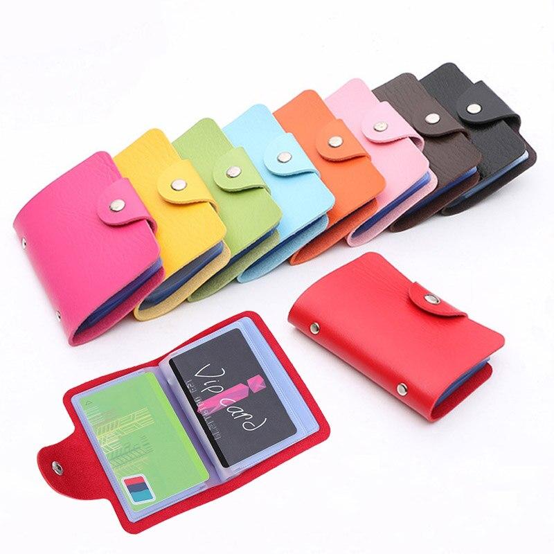 New Function PU Leather 24 Bits Business Card Case Credit Card Holder Women Men Passport Card Wallet