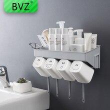 цена на BVZ Fashion Toothbrush Holder Inverted Cup Wall Mount Bathroom Shelf Cleanser Storage Rack Bathroom Accessories Set