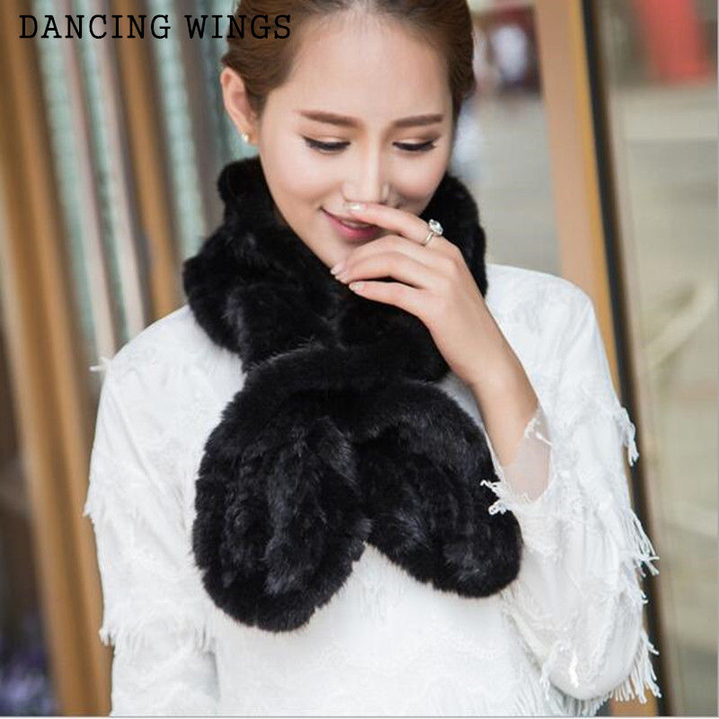 New Fashion Warm Winter Fur Scarf Real Mink Fur Knitted Scarf For Women Wrap Cape Wholesale