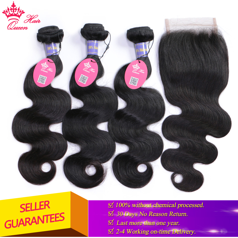 Queen Hair Malaysian Body Wave With Closure 3 Bundles 4x4 Lace Closure 4 Pcs Lot Virgin