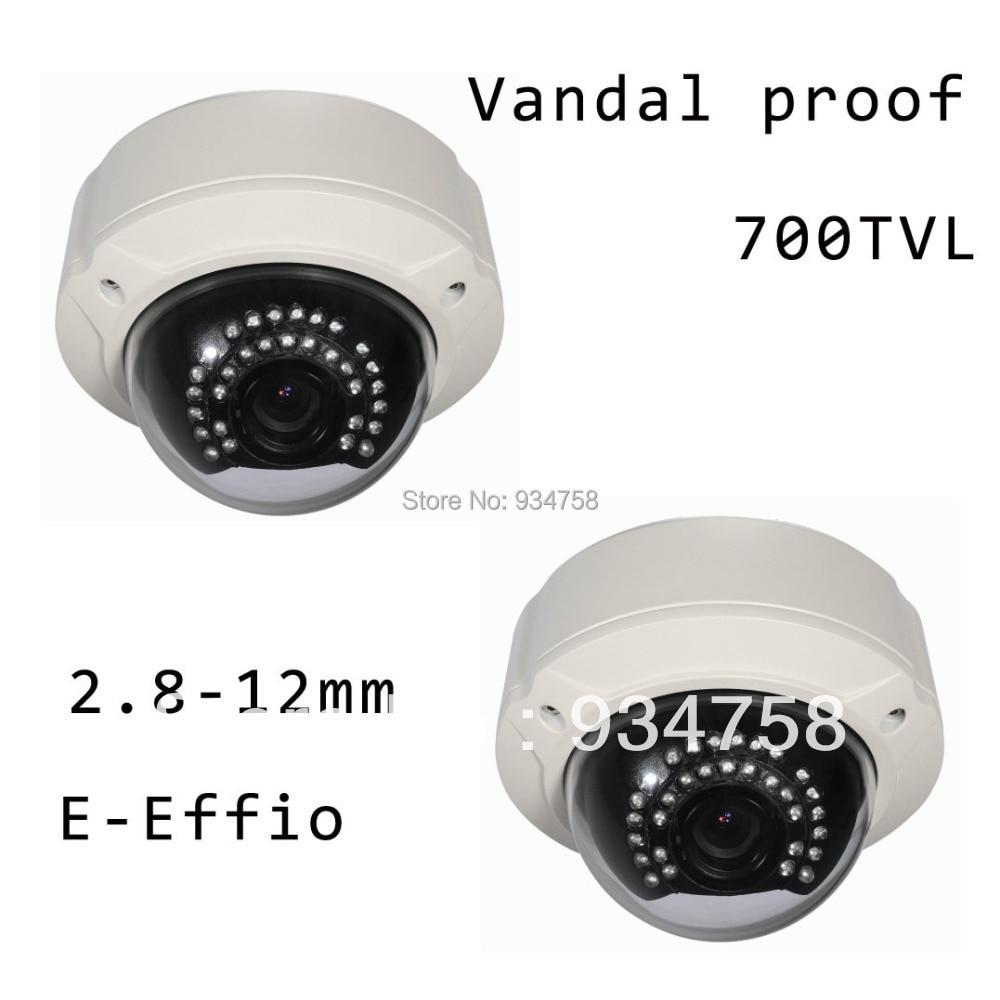 2PCS CCTV 1/3 E-Effio CCD 700TVL 2.8-12mm OSD Vandal proof Dome IR Camera