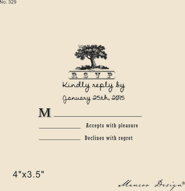 Custom Tree Rsvp Rubber Stamp To Create Response Cards Wedding