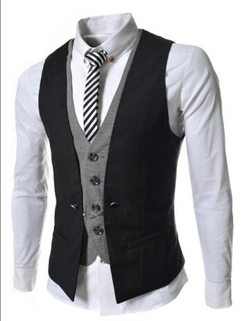 Mens Vest New Listing Fashion Brand False Two Design Waistcoat Male Blazer Vest Casual Slim Fit Suit Vests Men