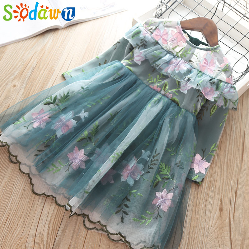 Sodawn Girls Clohthes 2019 Spring New Fashion Fower Bud Silk Yarn Princess Dress Girl Out Party New Year Dress Children Clothing