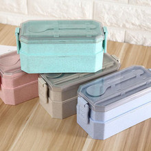 Healthy Material 2 Layer Lunch Box Tableware Set Wheat Straw Bento Boxs Microwave Dinnerware Food Storage Container Lunchbox(China)