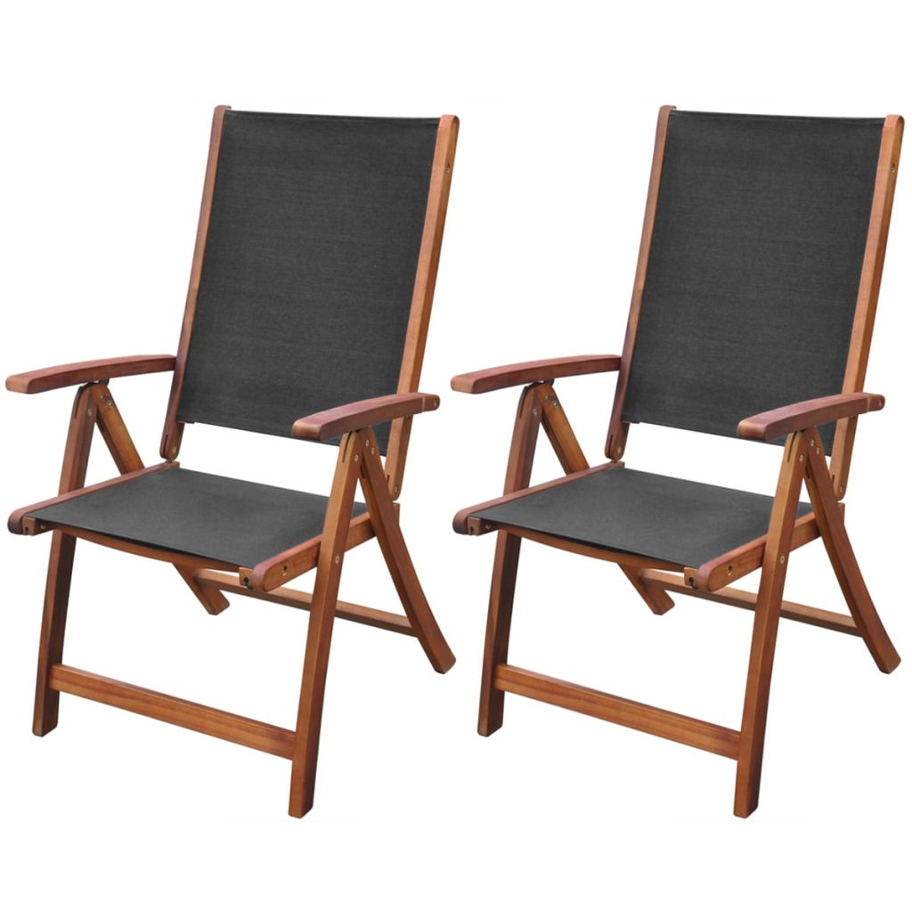 VidaXL Folding Chairs 2 Pcs Acacia Wood Black In Garden Chairs From  Furniture On Aliexpress.com | Alibaba Group