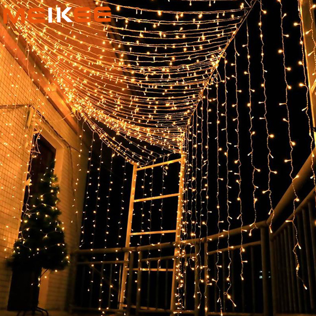 3x3m/3x1/4x0.6m LED String Lights Garland Starry Fairy Curtain Light Lamps Christmas Decoration for Home Bedroom Wedding Holiday
