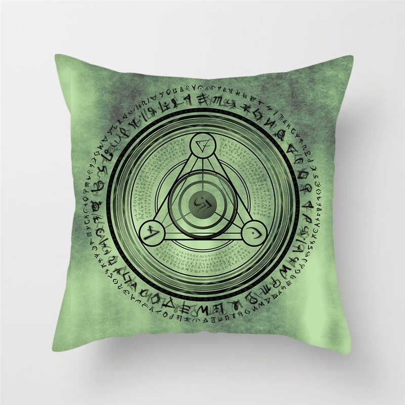 Fuwatacchi Green Magic Array Geometric Cushion Cover Circle Stars Turntable Pillow Cover Home Decoration Accessories Pillowcases in Cushion Cover from Home Garden