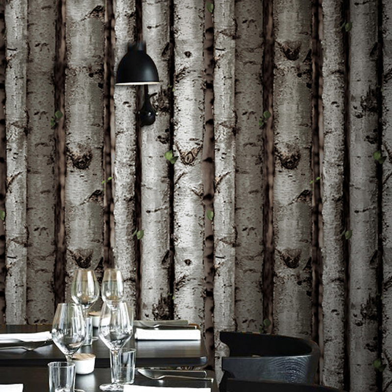 3D Embossed White Birch Tree Wallpaper Dark Brown Forest Birch Wood Vinyl Wall Paper Living Room Bedroom Restaurant Wall Decor рюкзак thule stir 20l dark forest 3203552