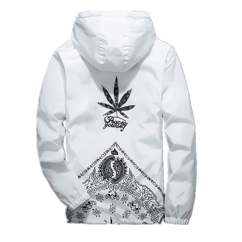 Drop Shipping Casual Hooded White Black Cannabi-s Printing Outerwear Basic Jacket Men Free Shipping