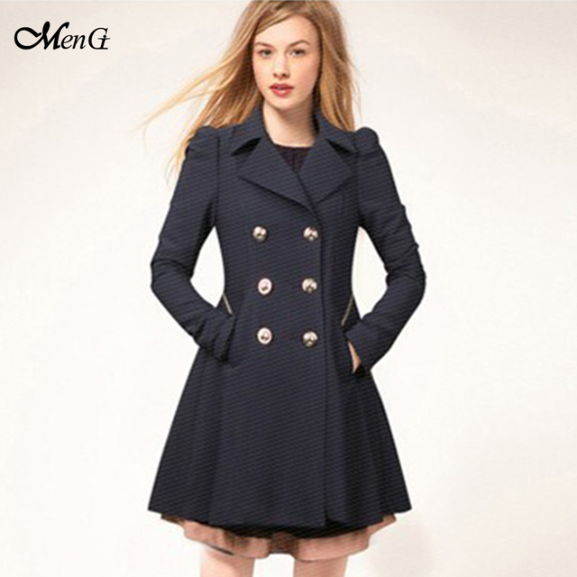 09443e71b81 New Women Long Trench Coat Notch Lapel Double Breasted Formal Button Up  Ruffle Pea Coat Ladies Casual Parka Outfit Plus Size