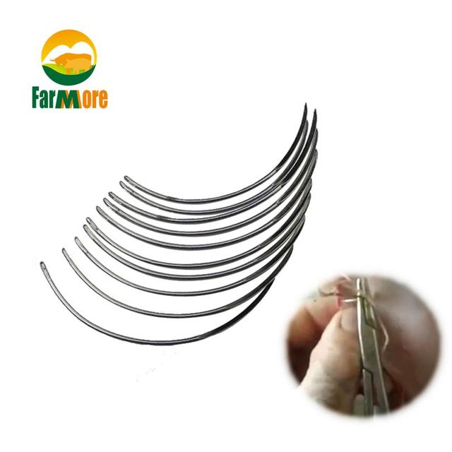 10 Pcs Veterinary Suture Needle Surgical Needle Pig Cattle Sheep Poultry Beast Medical Tool Veterinary Equipment Livestock Tools