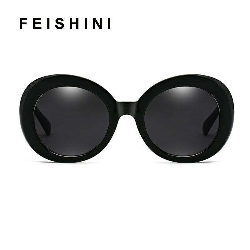 FEISHINI Loja Cobain Preto Clássico de Alta Qualidade Óculos De Sol Mulheres  Grife Rodada UVB Gradiente f1ee236f69