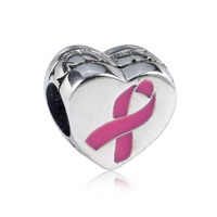 New Arrival High Quality Hope Theme Pink Ribbon 925 Sterling Silver Heart Charm Fitting European Famous