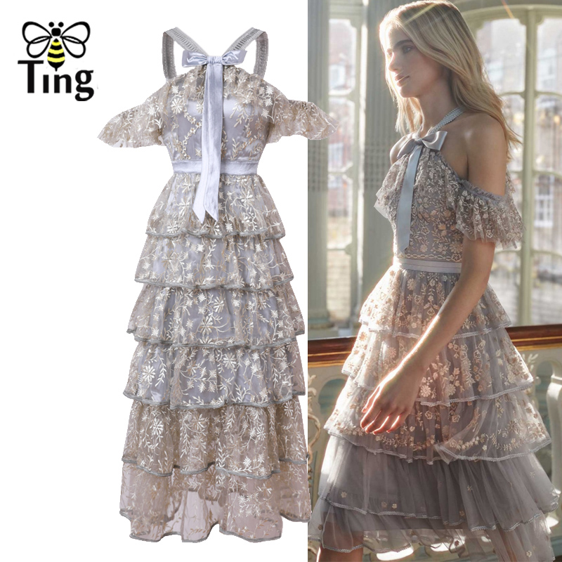 Tingfly Designer France Chic Luxury Embroidery Party Dress Sexy Bow Halter Neck Vintage Cold Shoulder Layered Dress Causl Vestid