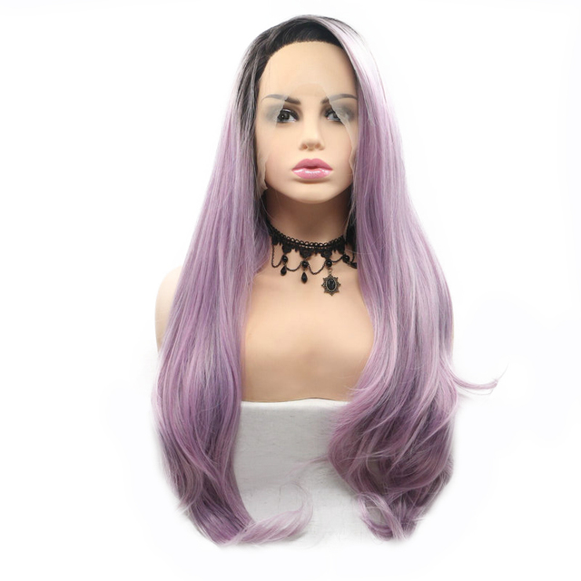 Sylvia Blend Purple Light Pink Wig Ombre Dark Roots Natural Wave Long Hair  Synthetic Lace Frontal Wigs For Women s Cosplay Party d3b73817b7