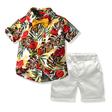 Flower Shirt Suits For Baby Children Clothing Boys Clothes White Shorts Kids Clothes Boys Suit Toddler Clothing Sets