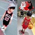 AsCreate Sets Children's Sportswear Basketball Dresses Bulls Dresses Vest Shorts Printed letters Sleeveless Soft processing