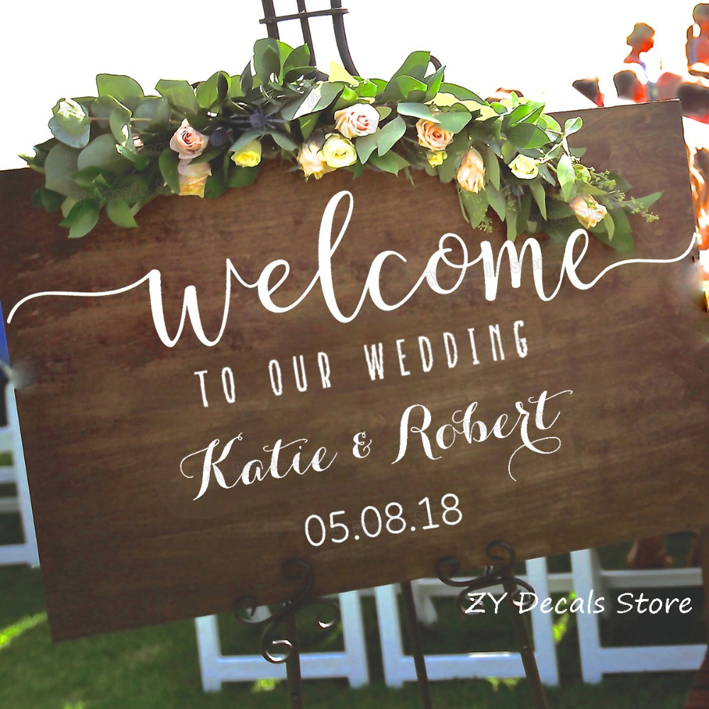 Wedding Welcome Sign Stickers Rustic Wood Wedding Decor Decal Personalized Vinyl Sticker S701