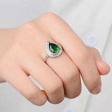 Green Stone Water Drop Wedding Ring Women Silver Color Pear Shape Zircon Rings Female Ring Engagement Micro Paved Jewelry DDR092