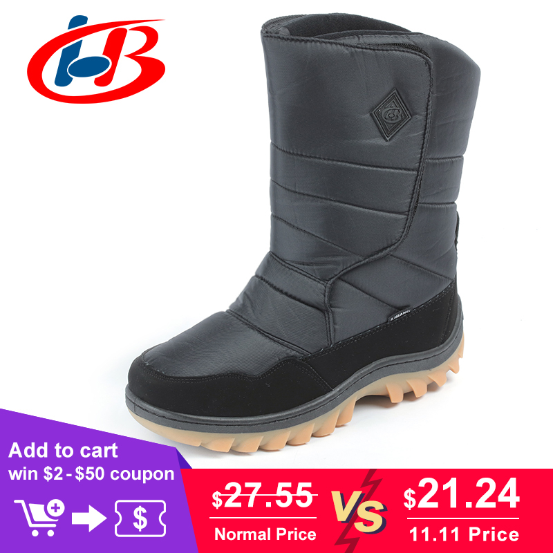 LIBANG Brand New Boots Men Mid-Calf Warmful Winter Boots Men Snow Boots Non-slip Waterproof Winter Shoes for Men Plus Size 41-46