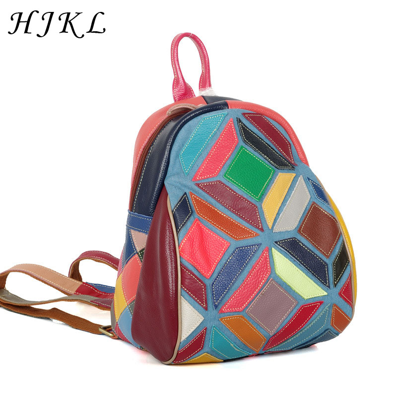 Genuine Cow Leather Women Backpack Colorful Patchwork Bagpack Geometric Pattern Vintage School Bags Casual Shoulder Travel 2019Genuine Cow Leather Women Backpack Colorful Patchwork Bagpack Geometric Pattern Vintage School Bags Casual Shoulder Travel 2019