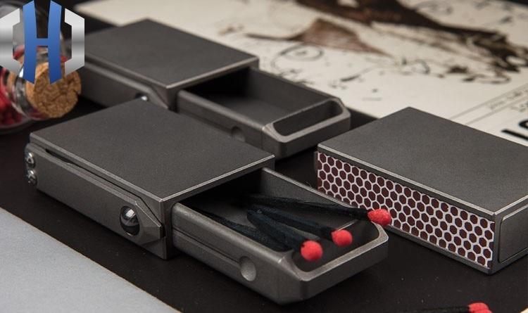 Image 5 - Creative Portable Compact EDC Titanium Alloy Draw Matchbox Outdoor Tactical Storage BoxCrowbars   -