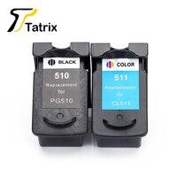Tatrix 2PK For Canon PG510 CL511 Printer Ink Cartridge PG 510 CL 511 For Pixma MP240 MP250 MP260 MP270 MP280 MP480 MP490 IP2700