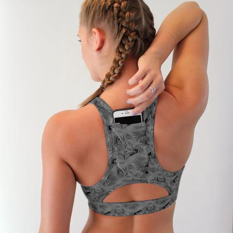 Frau Pro Padded Kompression Sport Bh Sportswear Spaghetti Printed Yoga Bh Top