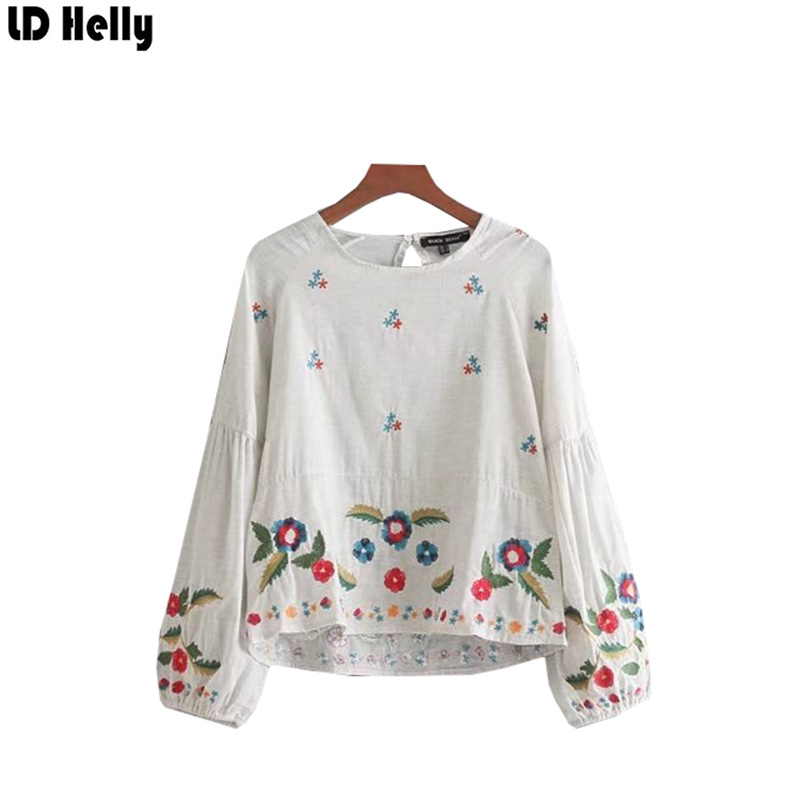 LD Helly Autumn 2017 Women Floral Embroidered Sweet Shirts Female O-Neck Long Sleeve Casual Brand Tops Blouses Blusas Mujer image